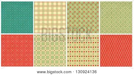 Collection of textures of old paper with retro geometric ornamental pattern. Endless texture can be used for pattern fills, web page background, baby and scrapbooking design