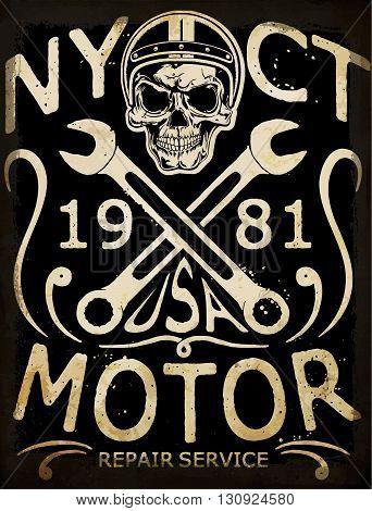 Tee skull motorcycle graphic design modern art fashion style