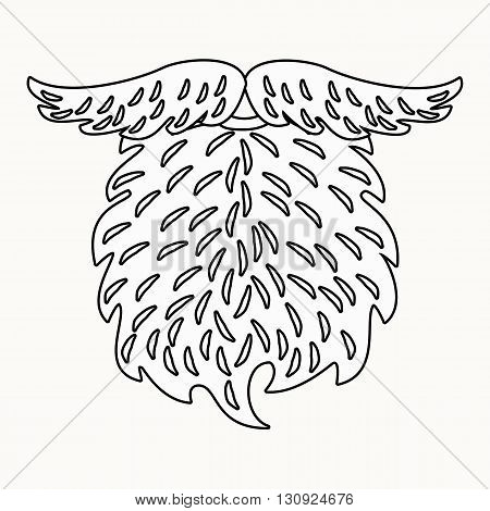 Beard and mustache outline drawing. Beard Illustration for coloring.