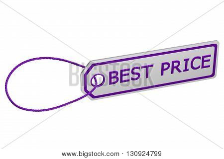 Best price tag isolated on white background. 3D rendering.