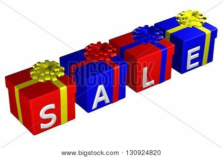 Gift boxes tied ribbon with a bow with word sale isolated on white background. 3D rendering.