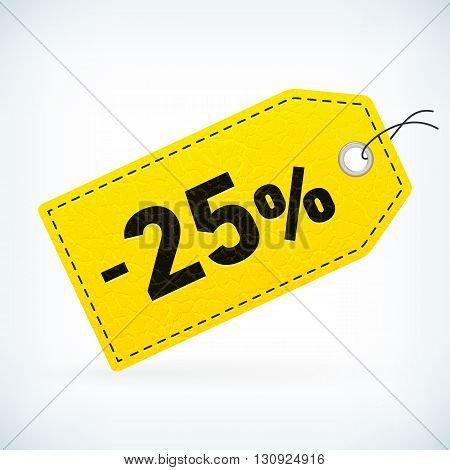 Yellow leather business sale -25% vector label. Business sale off detailed label. Isolated from background. Editable sale tag.