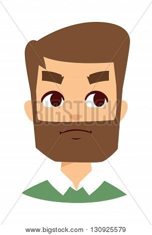 Stressed angry face, aggressive man, frustrated portrait angry face young bearded student. Angry face man isolated. Facial expression angry face vector illustration. Angry face unhappy rage emotion.