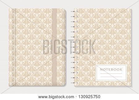 Notebook cover design. Notepad with elastic band and spiral notebook with beige damask patterns. Vintage style collection. Vector set.
