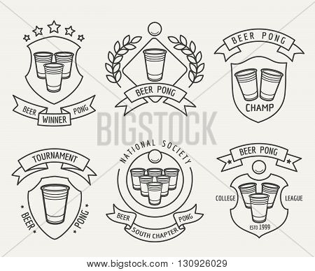 Beer pong line logo set. Beer pong drinking game vector linear labels