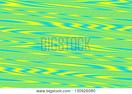 Illustration of yellow and cyan blue wooden structure