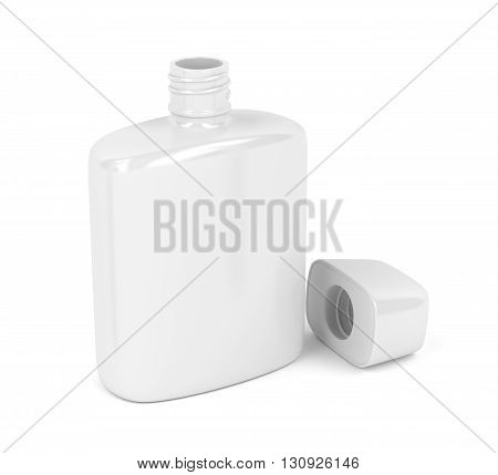 Open white bottle for aftershave lotion or perfume on white background, 3D illustration