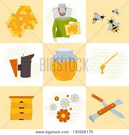 Vector set of nine icons for beekeeping products. Man in clothes beekeeper with frame of honey in hand. Near hive, honey, bees on flowers, tools beekeeper, honeycomb. Flat style
