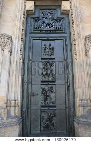 Door of the St. Vitus Cathedral of the city of Prague