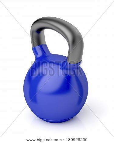3D illustration of kettlebell on shiny white background