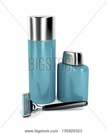 Safety razor shaving foam and aftershave balm, 3D illustration