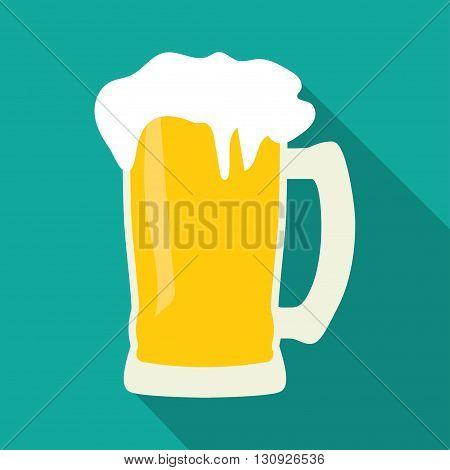 Mug of beer icon modern minimalistic flat design. with shadow