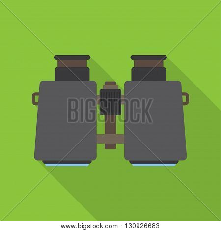 Vector icon of binoculars. Flat design with long shadow.