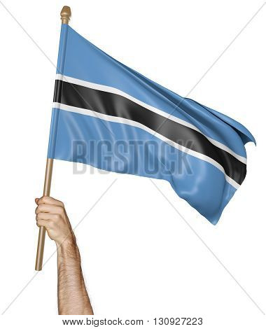 Hand proudly waving the national flag of Botswana, 3D rendering