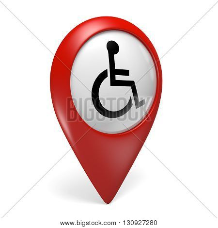 Red map pointer icon with a wheelchair symbol for handicapped persons, 3D rendering