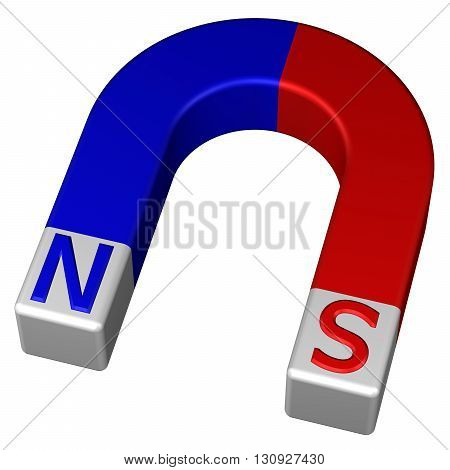 Horseshoe permanent magnet isolated on white background. 3D rendering.