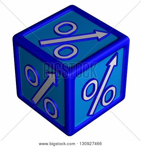 Concept: percent growth. Block with percent sign with arrow isolated on white background. 3D rendering.