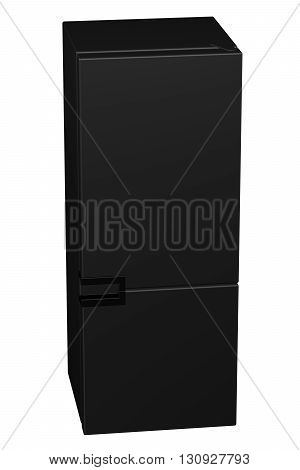 Black refrigerator isolated on white background. 3D rendering.