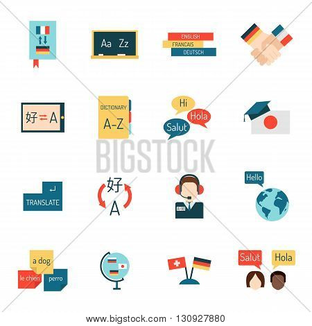 Set vector illustration icons for educational programs languages education, distance education, online learning. Languages school process languages education, webinars, languages school isolated.
