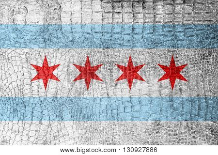 Flag Of Chicago, Illinois, On A Luxurious, Fashionable Canvas