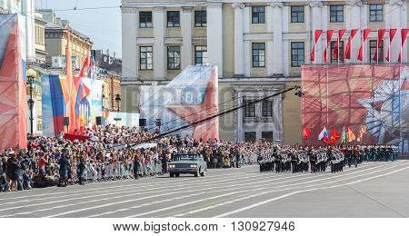 St. Petersburg, Russia - 9 May: Home Military Parade on Palace Square, 9 May, 2016. Festive military parade on the Palace Square in St. Petersburg.