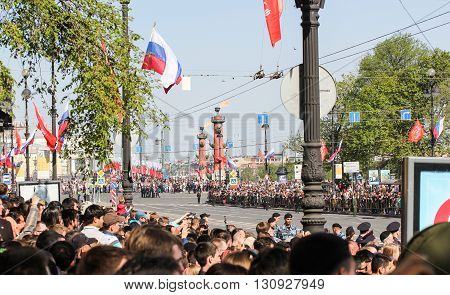 St. Petersburg, Russia - 9 May, Crowds of people waiting for the parade, 9 May, 2016. Festive military parade on the Palace Square in St. Petersburg.