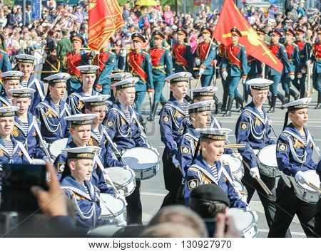 St. Petersburg, Russia - 9 May, Cadets Cadet Marine Corps on the march, 9 May, 2016. Festive military parade on the Palace Square in St. Petersburg.
