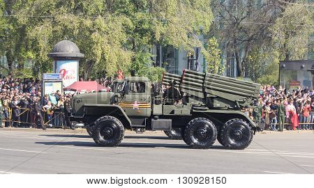 St. Petersburg, Russia - 9 May, Constant bombings on Victory Day, 9 May, 2016. Festive military parade on the Palace Square in St. Petersburg.