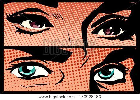 Male and female eyes close-up pop art retro vector. Look man and woman. Blue and brown eyes