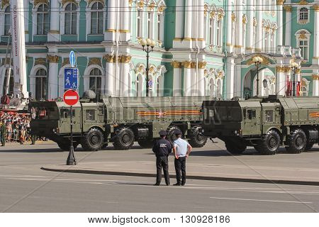 St. Petersburg, Russia - 9 May, Military vehicles on Strategic Victory, 9 May, 2016. Festive military parade on the Palace Square in St. Petersburg.