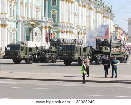 St. Petersburg, Russia - 9 May, Heavy military trucks with rocket launchers on the Palace Square, 9 May, 2016. Festive military parade on the Palace Square in St. Petersburg.