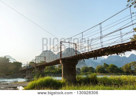 Bamboo bridge over Nam Song River at Vang Vieng village Laos