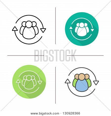 Team management flat design, linear and color icons set. Company employees. Teamwork. Contour and long shadow symbols. Team management logo concept. Isolated vector illustrations. Infographic elements