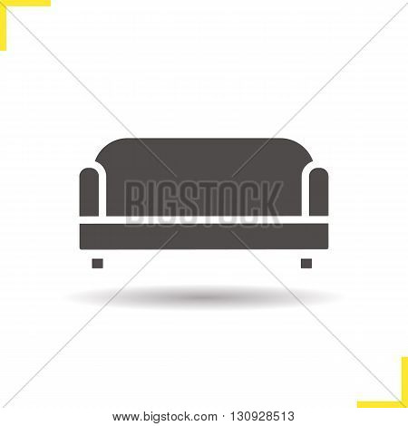 Couch icon. Isolated living room couch illustration. Drop shadow sofa icon. Modern comfortable furniture. House interior item. Soft couch logo concept. Vector sofa. Silhouette couch symbol