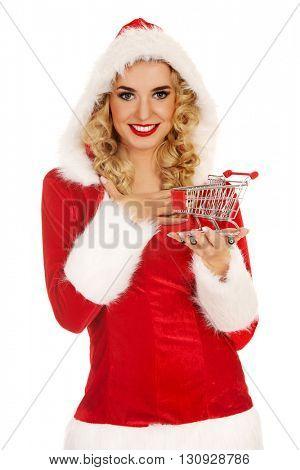 Santa woman holding a small trolley
