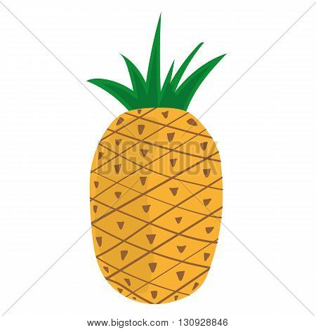Stylized vector illustration of a single pineapple fruit on a white background