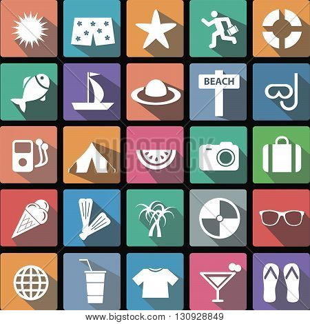 Vector illustration of a set of flat icons of vacation