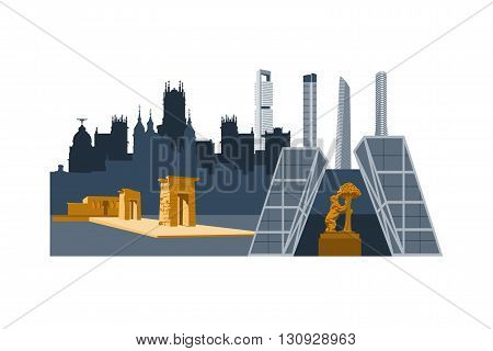 Madrid city landmarks and skyscrapers vector illustration. Cibeles palace Bear and strawberry tree Debod egyptian temple Cuatro torres skyscrapers.