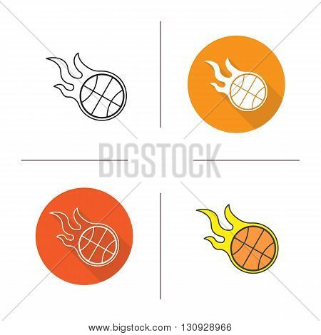Basketball ball flat design, linear and color icons set. Burning ball contour and long shadow symbols. Basketball ball logo concepts. Isolated vector illustrations. Infographic elements