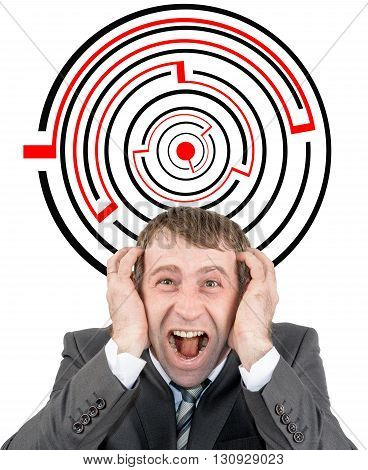 Shouting businessman against entrance to difficult maze puzzle