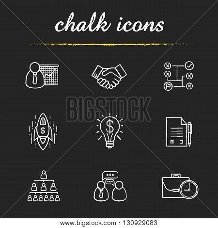 Business icons set.  Teamwork, company hierarchy and work management. Presentation with graph, signed contract and handshake illustrations. Business isolated vector chalkboard drawings
