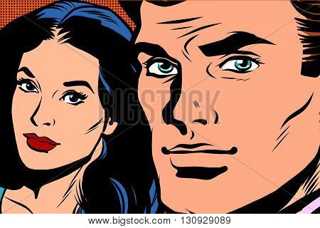 Beautiful couple man and woman pop art retro vector. Close-up face man girl. Pop art retro men