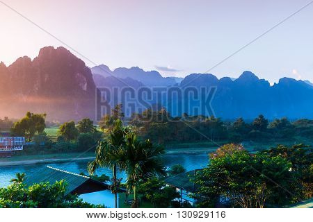 Sunset at Song river Vang Vieng Laos