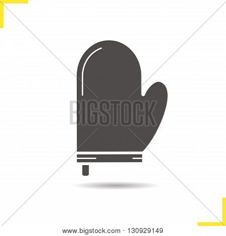 Oven mitt icon. Isolated oven mitt vector illustration. Drop shadow pot holder icon. Protective kitchen equipment. Oven mitt logo concept. Vector pot holder. Silhouette oven mitt symbol