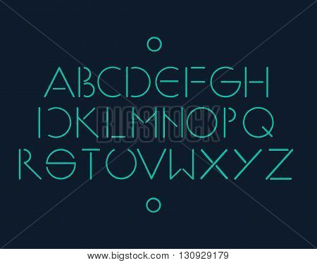 Simple and minimalistic font neon color blue background