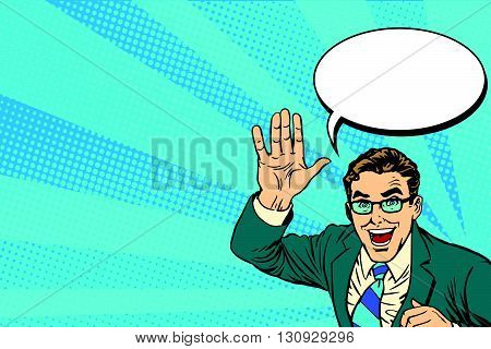 hands giving a high five for great work pop art retro vector. Joyful businessman. Good job concept