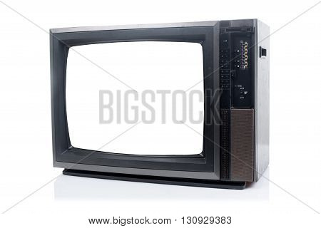 Vintage Television with shadow on white background Blank on screen waiting add for text.