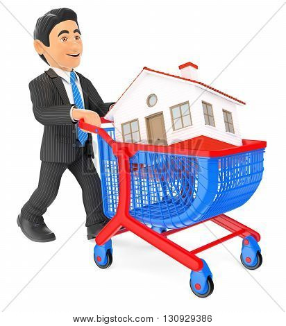 3d business people illustration. Businessman pushing a shopping cart with a house. Real estate. Isolated white background.