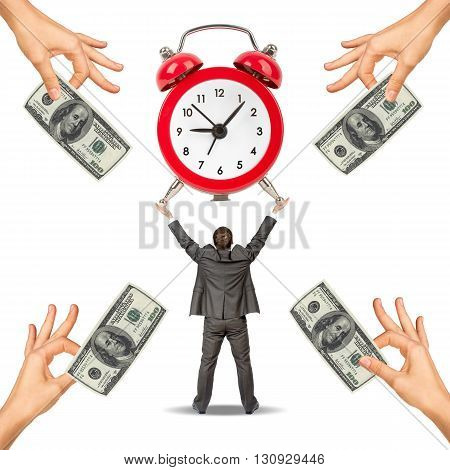 Businessman with clock and hand offering cash, in time concept. Isolated on white background