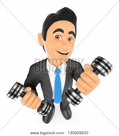 3d business people illustration. Businessman exercising with two dumbbells fitness. Overcoming. Isolated white background.